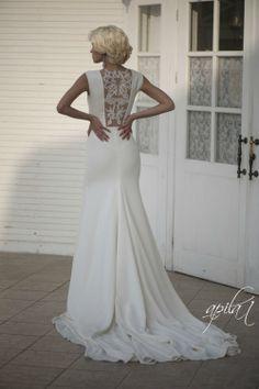 Long Wedding Dress Ivory Wedding Gown With by ApilatCreativeAtelie, $910.00