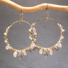 Hammered hoops labradorite, keshi pearls, green amethyst Sahara 70