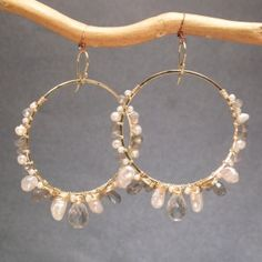 Sahara 70 Large hoops wrapped with labradorite, keshi pearls, and green amethyst