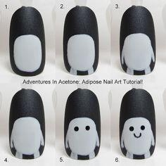 Tutorial Tuesday, The Digit-al Dozen DOES Black and White Day 2: Adipose Nail Art!