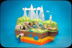 Motion Design, stop motion, paper, cars, landscape, mountain, plane