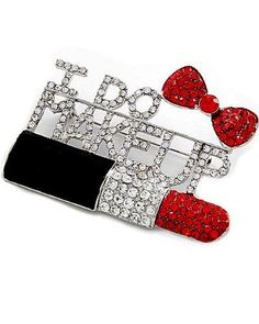 Silvertone Clear and Red Rhinestone I DO MAKEUP Brooch Pin Fashion Jewelry PammyJ Brooch Pin, http://www.amazon.com/dp/B0098Q5ZHA/ref=cm_sw_r_pi_dp_9DDbrb0YDEK0B