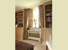 Bespoke Hallidays pine study with bookcases, window shutters and radiator cover