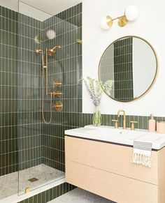 Bathroom decor for the master bathroom remodel. Learn master bathroom organization, bathroom decor ideas, master bathroom tile some ideas, master bathroom paint colors, and much more. Bathroom Inspo, Bathroom Inspiration, Bathroom Sconces, Green Bathroom Tiles, Green Tiles, Bathroom Cabinets, Bathroom Trends, Bathroom Beadboard, Dyi Bathroom