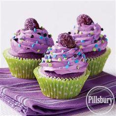 Grape Filled Purple Cupcakes from Pillsbury® Baking