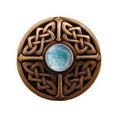 "Notting Hill [NHK-158-AC-GA] Solid Pewter Cabinet Knob - Celtic Jewel - Green Aventurine Natural Stone - Antique Copper Finish - 1 3/8"" Dia."