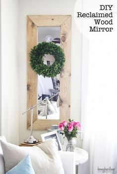 DIY Reclaimed Wood Mirror - this is a really beautiful decor idea for the home! It would look great on any wall and with almost any furniture!