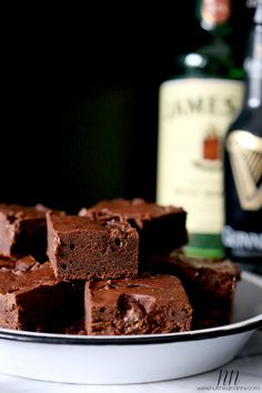 Salted Caramel Guinness Brownies with Jameson Whipped Cream by Nutmeg Nanny