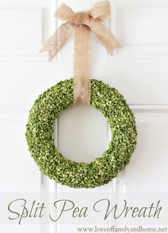 split pea wreath - cheap and easy, the way i like my crafts.  can also use other lentils for different colors/seasons.