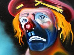 Not So Funny oil on canvas by Jeff Hunter ~ clown