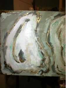 """big oyster paintings are back! 18""""x58"""" mixed media on reclaimed wood. by s.bynum art & design."""