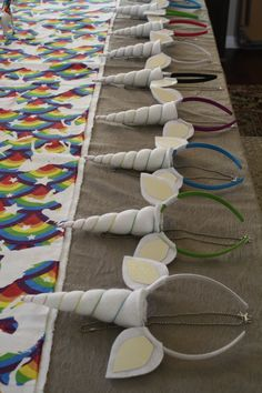 Unicorn Horns for a Unicorn Birthday Party! Linking to the site I used for instructions.