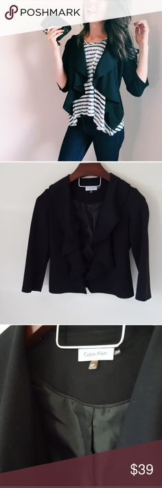Calvin Klein | ruffle front black blazer In excellent condition! Gorgeous Calvin Klein ruffle front blazer. Perfect to pair with skinny jeans and a tank! Black, 3/4 sleeves. Used item, some signs of wear shown by pictures ❤ Calvin Klein Jackets & Coats Blazers