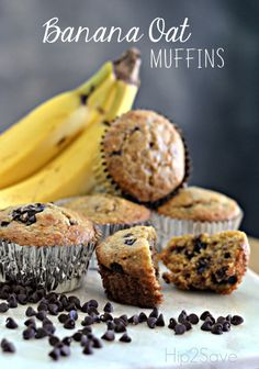 Banana Oat Muffins. This great muffin recipe is low in sugar and contains no oil. If you need breakfast on the go, an afternoon snack, or want to make something for the kids to take to school, then this recipe is one you need to try.