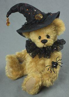 Hattie Grimsbane - Created from German Mohair, about 13 inches. #halloween #artistbear #artistbears #teddybear #teddy #handmade