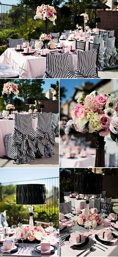 chanel inspired bridal shower! I LOVE THIS! Black & white stripes. :) But could use other colors instead of pink....turquoise, red, orange, lime green, purple, yellow...all would look great!