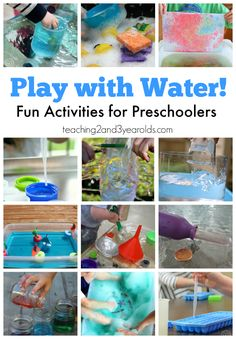 15 fun ways for preschoolers to play with water! Hands-on exploration and learning while working with water in a variety of ways.