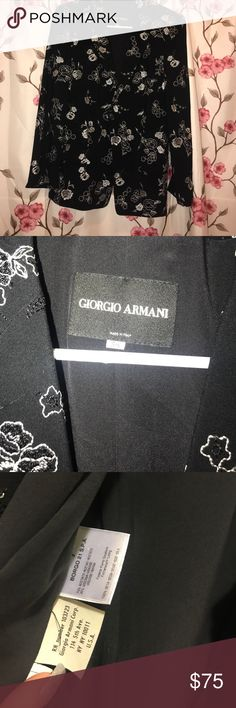 Giorgio Armani Floral Blazer Silk Blazer by Giorgio Armani. Shoulder pads, one button. Excellent condition, worn once. Size Europe 38 = size 8 American Giorgio Armani Jackets & Coats Blazers