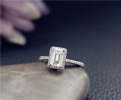 1ct 5x7mm Charles & Colvard Emerald Cut Moissanite by NidaRings