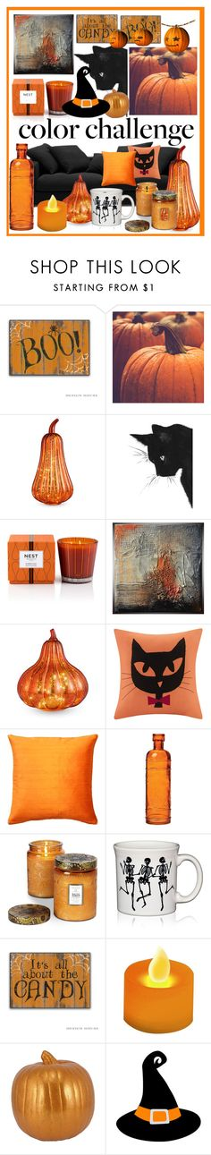"""Color Challenge: Orange and Black"" by carliruiz ❤ liked on Polyvore featuring interior, interiors, interior design, home, home decor, interior decorating, BoConcept, Improvements, Nest Fragrances and Madison Park"