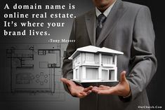 A domain name is online real estate. It's where your brand lives. -Tony Messer