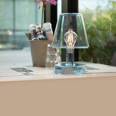 TRANSLOETJE - Lampe à poser LED rechargeable Bleu H25cm Fatboy