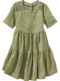 Lace-Inset Tiered Dress for Baby