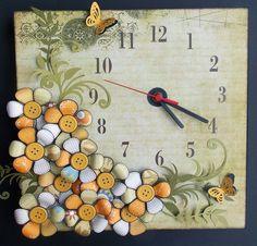 Relógio Patchwork - Paper Sculpture realizado em aula pela aluna Cida Pacheco
