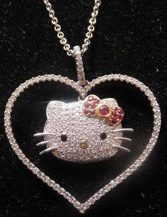 "AAPBBMKVD/ 18kt Gold Hello Kitty Heart Pendant Kimora Lee Simmons  18.5""  approx 1 CTW Dia #KimoraLeeSimmons"