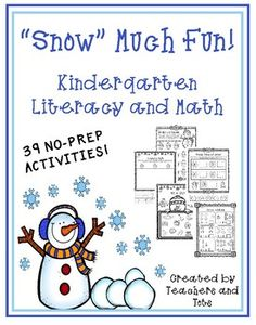 This snow-themed packet includes 39 NO PREP activities covering a variety of Kindergarten literacy and math skills.  These activities could be used as homework, station/partner activities, individual work, etc.  Some skills are differentiated and could also be used for remediation/enrichment purposes.Skills covered include:*Beginning Sounds, Middle and Ending Sounds*CVC Words*Word Families*Beginning Digraphs*Informational Writing*Opinion Writing*Syllables*ABC Order*Letter Matching*Nouns and…