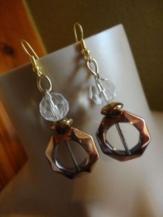 Handmade Clear Glass and Bronze Glass Earrings and Bracelet Set #Handmade