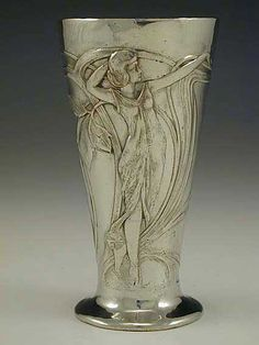 WMF Art Nouveau Polished Pewter Goblet with Maiden