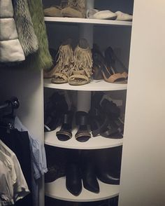 This is a great way to utilise space in a small Walk in Robe, this rotating shoe rack was recently fitted in a TRB home #shoerack #trb #newhome #heels #robe #walkinrobe