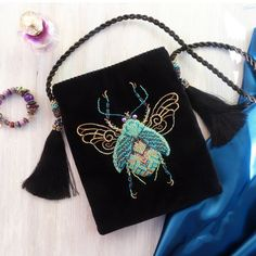 Navy velvet blue beetle beaded purse with tassels/Embroidered crossbody mini bag in vintage style /Evening bag for romantic woman Beaded Purses, Beaded Bags, Embroidery Bags, Beaded Embroidery, Indian Embroidery, Luxury Gifts For Women, Blue Beetle, Romantic Woman, Linen Bag