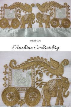 Gold and silver combination machine embroidery work