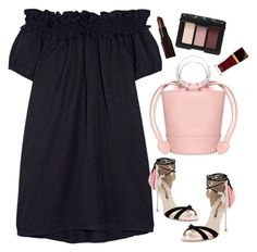 """""""Off the shoulder cotton dress"""" by thestyleartisan ❤ liked on Polyvore featuring Clu, Sophia Webster, NARS Cosmetics, Tom Ford, Laura Mercier and blinddate"""