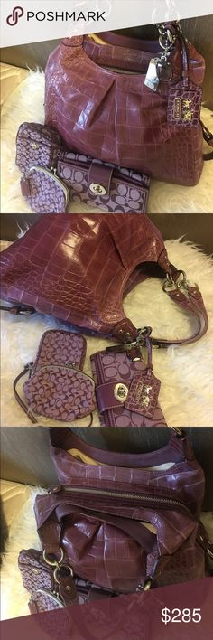 MUST SEE! Like NewCoach 4 peice! Bag & accessories What can I say!! Just pure beauty.. This coach bag, wallet, phone case, coin purse is just breath taking.. bag is solid croc leather originally priced at $598 from coach. Bag is top  notch quality and will last forever. A Must have! Coach Bags Shoulder Bags