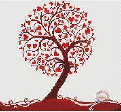Árbol de hojas en forma de corazón a punto de cruz - PatronesMil