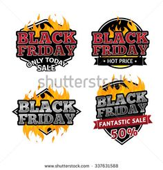 Set of retro logos, badges, buttons, icons, price tags for sale on Black Friday. The decor of the fire. Game Icon, Retro Logos, Logo Images, Black Friday, Jamaican Restaurant, Fire Vector, Royalty Free Stock Photos, Price Tags, Vector Stock