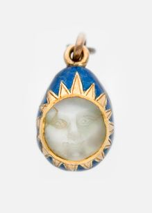 Fabergé Miniature Easter Egg Pendant in gold, enamel and a carved moonstone (before 1899)