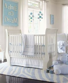 Baby room in blue,  so fresh.