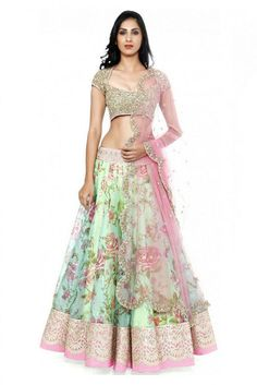 Georgette Party Wear Lehenga Choli in Sea Green Colour.It comes with matching Dupatta and Choli.It is crafted with Printed. -www.cooliyo.com