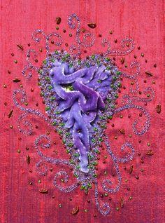 Velvet Heart -hand dyed velvet - machine and hand embroidery - Sue Sanderson