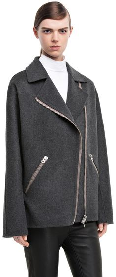 Envier double charcoal grey wool/cashmere blend jacket #AcneStudios #PreFall2014