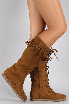 Soda Suede Fringe Round Toe Lace Up Moccasin Flat Boots