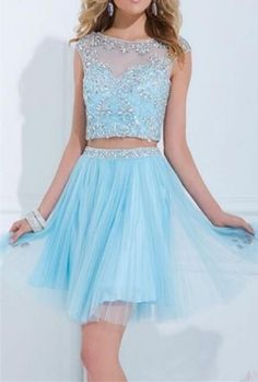 Hot Sale 2 Pieces Beading Tulle Knee Length Homecoming Dresses Short Prom Party Dresses