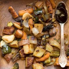 <p>Here is a recipe for roasted vegetables with pancetta and balsamic sauce.</p><p>Another great tip for roasting vegetables: preheat your baking pans in the oven.</p>