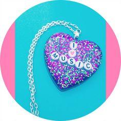 I Heart Music Kawaii Resin Pendant by RainbowPrisms on Etsy, $15.00