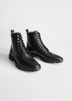 Lace-Up Leather Boots - Sapatos - Black Lace Up Boots, Black Chelsea Boots, Leather Lace Up Boots, Leather Chelsea Boots, Lace Up Ankle Boots, Shoe Boots, Leather Skirt, Stilettos, Ankle Boots