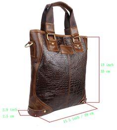 Antique Leather Mail Bag | Noble Vintage Crocodile Print Bull Leather Messenger Shoulder BAG ...